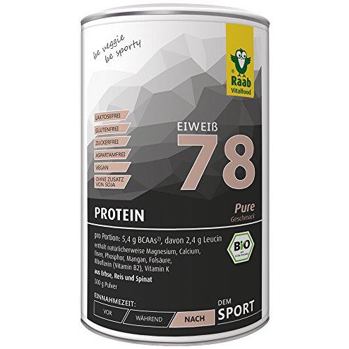 rotein 78 Pure Shake ohne Soja, 500 g, Protein-Pulver mit 78 % Eiweiß, Blend aus Erbse Reis Spinat, vegan, glutenfrei, neutral ()