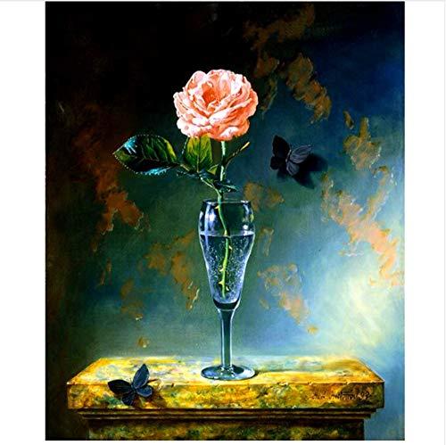QAZZSF Peinture de bricolage par des Fleurs de numéros, Coupe Wall Art Photo Pour adultes Enfants peinture acrylique sur Toile Cadeau de décoration de Maison peinte à la Main Fleur Coupe