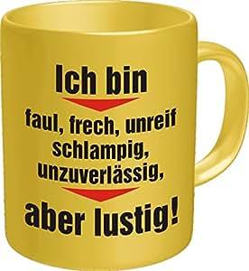 Original RAHMENLOS® Fun Tasse 'Ich bin faul, frech.............' einzeln im Geschenkkarton