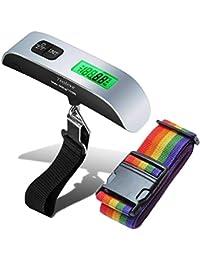 Báscula Digital para Pesaje de Equipaje con Correas de Seguridad Ajustables, Toolove 110lb / 50kg Dinamómetro…