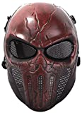 Coxeer Paintball Mask Skull Cosplay Breathable Airsoft Full Face Halloween Mask One Size