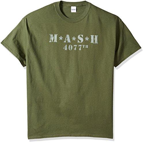 (MASH Distressed Logo Green T-Shirt - Large)