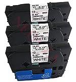 3 x Etikettenband schwarz auf weiß kompatibel mit Brother TZ TZe 231 TZ-231 TZe-231 P-Touch 12mm x 8m, laminiert
