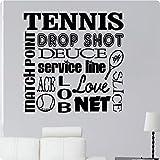 """24""""tenis deporte Match Punto Drop Shot Deuce Servicio línea Ace Love Red Slice Collage diciendo cita de pared adhesivo arte mural decoración"""