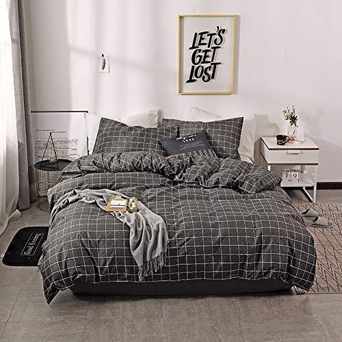 TINE Bettwäsche Dunkelgrau Bettbezug Set mit Gitter Muster Super Weiche Atmungsaktive Waschbar Bettwäscheset mit Kissenbezug 2/3-teilig Bettwäsche-Set mit Reißverschluss,135x200cm