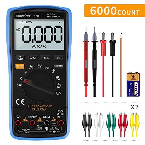 Preisvergleich Produktbild Digital Multimeter,  Auto-Range Morpilot 6000Counts Strommessgerät Voltmeter Ohmmeter Amperemeter,  Temperatur,  Außenleiter-Identifizierung,  True RMS,  Durchgangsprüfung,  für professionelle Anwender