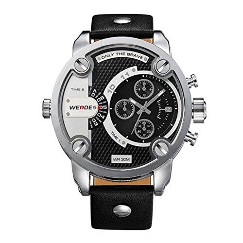 Pixnor Exposition von Große Zifferblatt rund Dual Time Schuh wasserdicht Premium Weide Armbanduhr Quarz