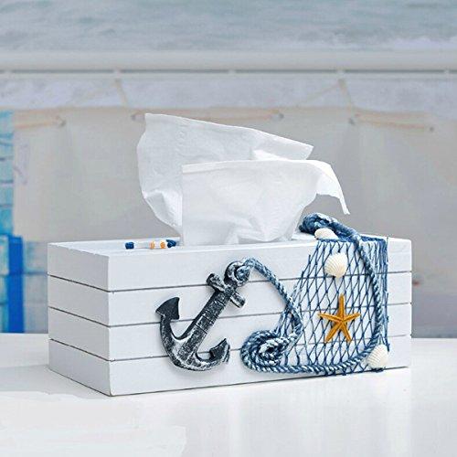 Bluelover Mediterranen Stil Blau Und Weiß Tissue Boxen Papierserviette Box - Schwarzen Anker