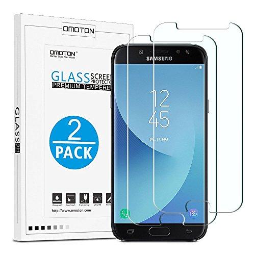 OMOTON [neuste Version] Schutzfolie für Samsung Galaxy J5 (2017) DUOS (5,2 Zoll), 9H Härte, Anti-Kratzen, Anti-Öl, Anti-Bläschen,Kristall-klar, 2 Stück -