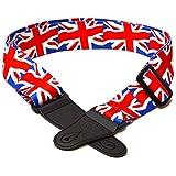 Elagon (UK) elegante tracolla per chitarra con bandiera UK Union Jack per chitarra elettrica, acustica e basso.