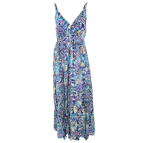 Womens/Ladies Spotty Pattern Print Strappy Crossover Maxi Summer Dress (Large) (Blue)