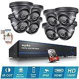 [Mejorado HD 1080P] SANNCE Kit de 8 Cámaras de Vigilancia Seguridad (Onvif H.264 CCTV DVR P2P 8CH AHD 1080P y 8 Cámaras 2.0MP IP66 Impermeable, IR-Cut, Visión Nocturna Hasta 20M, Exterior y Interior, HDMI, 24 LEDs Seguridad Kit) - 1TB Disco Duro