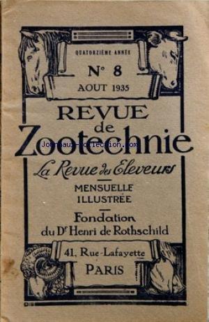 REVUE DE ZOOTECHNIE (LA) [No 8] du 01/08/1935