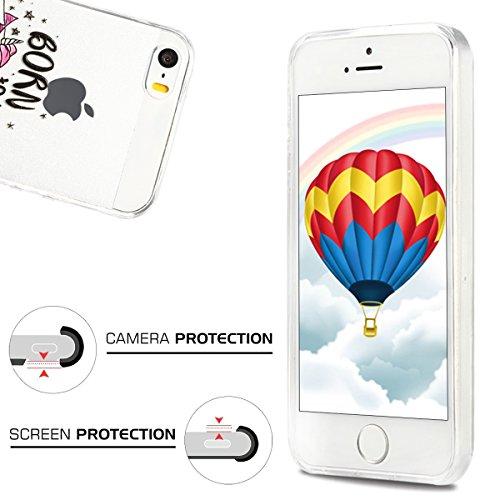 Coque iPhone 5S , Etui iPhone SE , CaseLover Etui Coque TPU Slim pour iPhone 5S / 5 / SE Mode Flexible Souple Soft Case Couverture Housse Protection Anti rayures Mince Transparent Silicone Cover avec  Cheval