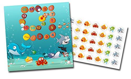 Töpfchentraining Belohnungskarte mit Sticker im Set Unterwasser Welt - Sauberkeitstraining bunte Aufkleber Kinder Baby Pflege