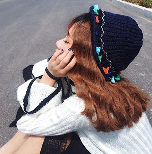 Tassel coloré tricotage casquettes de pêcheur plié en plein air garder chaude chapeau hiver femelle ( couleur : # 3 ) 1#