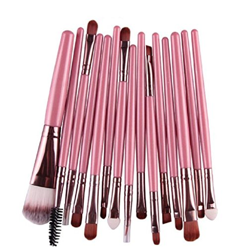 Tonsee 15 pièces / Set Eye Shadow Foundation Sourcils Lip Brush pinceaux de maquillage outils Rose