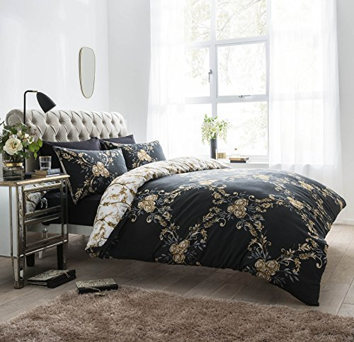Complete Bedding Set Double Bed Includes 1 Duvet Cover + 1 Plain Fitted Sheet + 2 Pillowcases Reversible Printed Polycotton , Floral Damask Charcoal