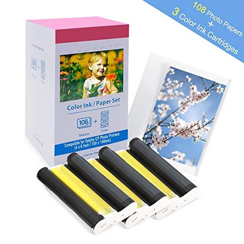 Ersatz Canon Selphy KP-108IN Fotopapier für CP1300 CP1200 CP1000 CP910 CP800 Selphy CP Fotodrucker, 3115B001(AA) 108 Blatt FotoPapier (100 x 148 mm) + 3 Farbkartusche