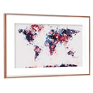 artboxONE Poster mit Rahmen Kupfer 60x40 cm World Map Paint Splashes Dark Blue Red von Michael Tompsett