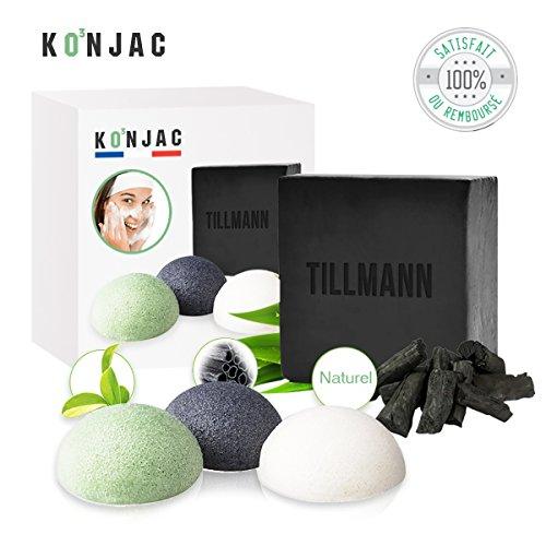 O³ Eponge Konjac Visage- 3 Eponges + 1 Savon de Bambou - 100% Naturels - Convient à tous Types de peau-Forme Hémisphère