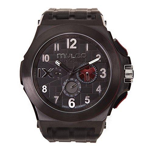 De los hombres de Mulco MW5–4379–026Blacksteel correa de silicona reloj