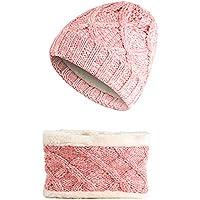 XIAXIACP Sombrero Grueso De Esquí, Calentador Beanie Hat Bufanda Al Aire Libre Cuello Más Cálido Winter Super Soft Fleece, Slouchy Stretchy Knit Beanie Cap Elástico para Niños/Niñas Unisex,Pink