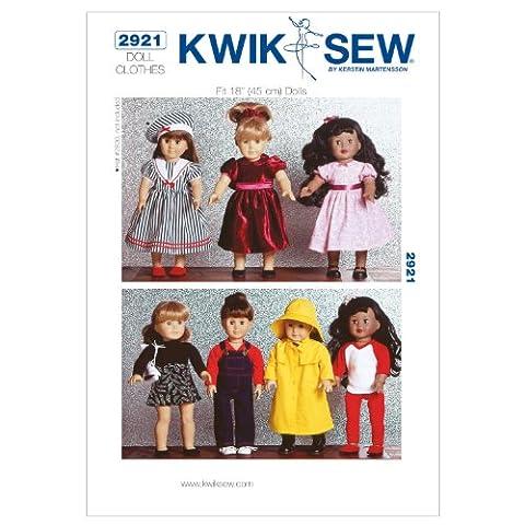 Kwik Sew Mustern k2921Größe passt 18Puppen Puppe Kleidung, weiß, 1Stück
