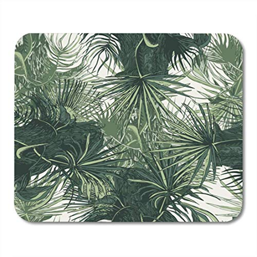 AOCCK Gaming Mauspads, Gaming Mouse Pad Leaf Seamless Pattern with Palm Leaves Tropic Vector Illustration Botanical 11.8