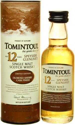 Tomintoul 12 YO Mini Single Malt Whisky 40{cae70bc277f748288548f23ac8e95594c90df8e54e726a564162be50cae0f100} 0,05L