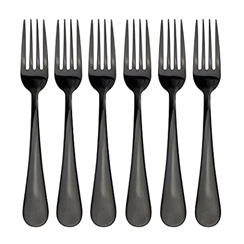 Couverts en titane Noir avec rev�tement en acier inoxydable Cuill�re Fourchette Vaisselle de couteaux Dinner Fork Black Titanium Coated Stainless Steel