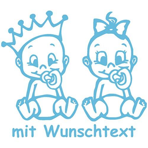 Babyaufkleber für Zwillinge mit Wunschtext - Motiv Z25-JM (16 cm)