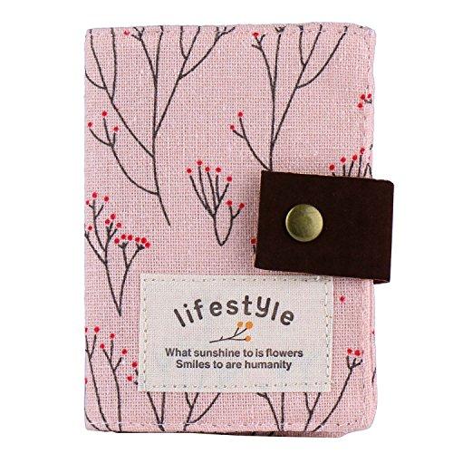 niceeshop(TM) Sac de Cas en Toile de Fleur Rouge pour la Carte de Crédit avec la Fente 20 de la Carte, Rose Pâle