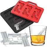 Eiswürfelform Pistole Eiswürfelbereiter Silikon Eiswürfel, 2 pack Xinxun Eiswürfelbehälter Form für 6 Gun Pistolen Eiswürfel für Whisky, Cocktails, Saft (Schwarz, Rot)