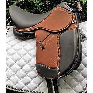 Sattel Monosattel Braun Bi Color Leder Ledersattel weich Monoblatt + 5 Kopfeisen verstellbar Dressur Shettysattel Tysons