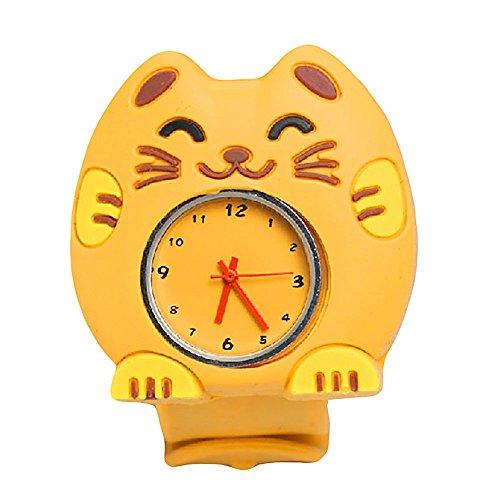 MMRM niños reloj de pulsera de silicona Animal lindo del dibujo animado reloj de cuarzo de Navidad regalo(Gato amarillo)