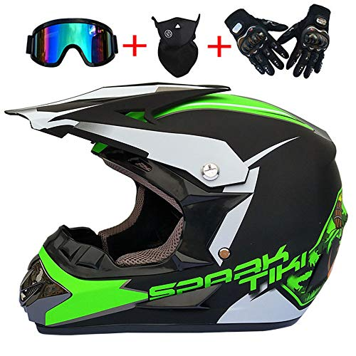 XBTIC Erwachsene Motocross Quad Crash Helm Off Road Helm ECE Downhill Dirt Bike MX ATV MotorradHelm Handschuhe, Brille, Maske 4 Stück Set (Matt schwarz + grün),L