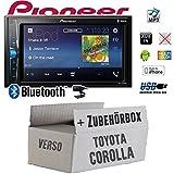 Toyota Corolla Verso schwarz - Autoradio Radio Pioneer MVH-A200VBT - 2-Din Bluetooth   MP3   USB   - Einbauzubehör - Einbauset