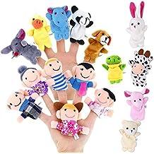 Juego de 16 Marionetas de Dedo, D && R 6 Piezas Happy Family Member con 10 Piezas Juego de Marionetas para Animales Juguetes Educativos para Bebés Niños