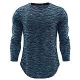 Kobay Homme Mode Personnalité O Neck Casual Blouse Slim(L,Bleu)