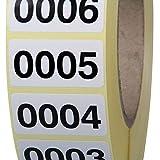 fortlaufend nummerierte Etiketten Haftpapier 1000 Stück 40 x 20 mm