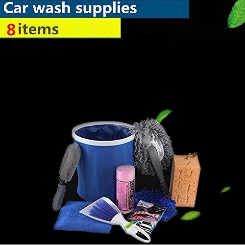 PCS Auto Waschen Innen Außen Kit Produkte Tools Set zu Reinigen inkl. Bürste Schwamm Handschuh Wachs Drag Car Wash Handtuch Falteimer ()