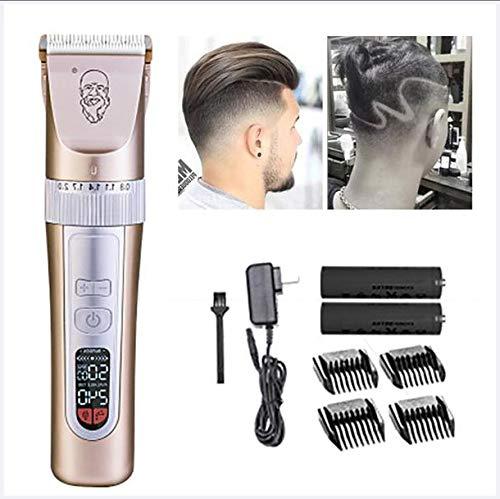 XINYIZI Haarschneidemaschinen Für Männer Cordless Professional,LCD-Haarschneidemaschine, Geschwindigkeitseinstellung,Mit Fünf Geschwindigkeiten,Mit Intelligenter Geschwindigkeit,Gold