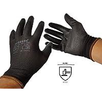 12 Paar Arbeitshandschuhe Bauhandschuhe Montagehandschuhe mit PU-Teilbeschichtung von Ulith EN 420 EN 388 unterschiedliche Größen in schwarz erhältlich Gr.XL 10 Farbe schwarz
