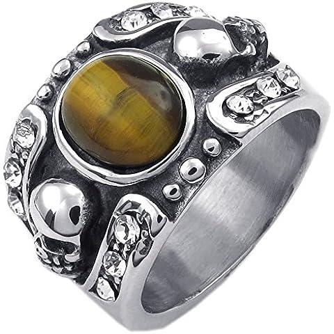 KONOV Joyería Anillo de hombre, Gótico Calavera Cráneo, Ojo de Tigre Acero inoxidable, Color amarillo plata (con bolsa de regalo)
