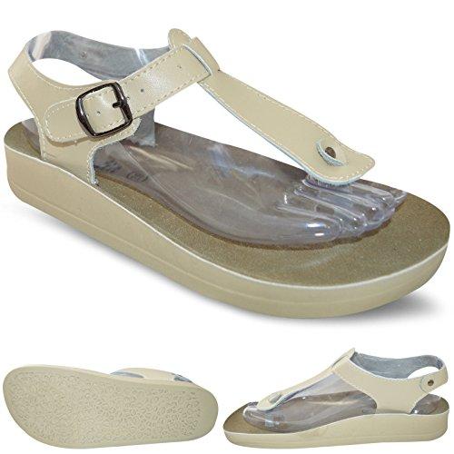 Da Donna In Pelle Casual, Piatte Spiaggia Estiva Tanga T Bar Infradito Taglia Di Scarpe Sandali Donna UK 3-8 Beige con fibbia