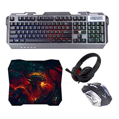 Woxter Stinger FX 80 Megakit - Kit gaming (teclado retroiluminado de base...