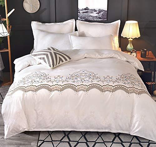 Fcao-Bettwäsche, 3 STÜCKE 200TC Weißer Spitze Bettbezug Mit Kissenbezug Geometrische Muster Tröster Abdeckung Doppel/King Size Beding Set Bettwäsche (Color : Weiß, Size : UK King 3pcs) (Queen-size-tröster Rot Abdeckung)