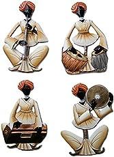 Karigaari Wrought Iron Handcrafted Rajasthani Men Wall Hanging Art Showpiece (Brown, 12x3x10 -inch) - Set of 4