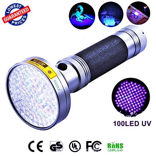 100 LED UV-Blacklight-Taschenlampe, 395nm UV-LED - Mit Uv-sonnenbrille, Haustierkatzenurin Und Fleckendetektor Schwarzlicht, Skorpione, Schimmel & Lecksucher Für Gewerbe Oder Zuhause, -
